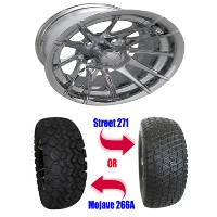 "Brand New Lifted Golf Cart Tires and 12"" RX102 Wheels Set"