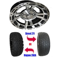 "Brand New Lifted Golf Cart Tires and 12"" RHOX RX131 Machined Wheels Set"