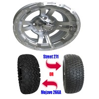 "Brand New Lifted Golf Cart Tires and 12"" RHOX RX132 Machined Wheels Set"