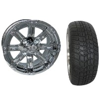 "Brand New Lifted Golf Cart Tires and 12"" Chrome Vegas Wheels Set"
