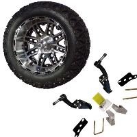 "14"" Lifted Golf Cart Tire/Wheel Package Combo with Lift Kit.  Fits EZGO TXT (Gas) 01-08."