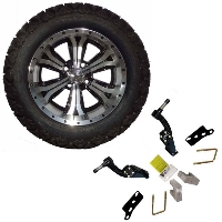 "14"" Golf Cart Tire/Wheel Package Combo with Lift Kit.  Fits Club Car DS (Gas) 96-04."