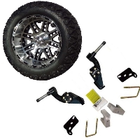 "14"" Lifted Golf Cart Tire/Wheel Package Combo with Lift Kit.  Fits Club Car DS (Gas) 96-04."