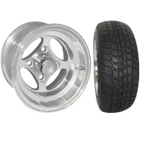 "Brand New Lifted Golf Cart Tires and 10"" RHOX Indy Machined Wheels Set"