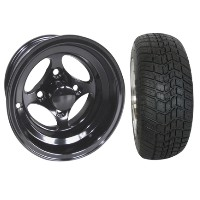 "Brand New Lifted Golf Cart Tires and 10"" RHOX Indy Black Wheels Set"