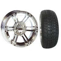 "Brand New Lifted Golf Cart Tires and 12"" SS Wheels Set"