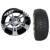 "Brand New Lifted Golf Cart Tires and 12"" RHOX 200 Wheels Set"