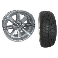 "Brand New Lifted Golf Cart Tires and 12"" RHOX Vegas Machined Wheels Set"