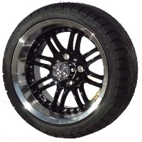 "Brand New Lifted Golf Cart Tires and 14"" Black Optimus Wheels Set"