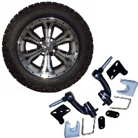"14"" Lifted Golf Cart Tire/Wheel Package Combo with Lift Kit.  Fits EZGO RXV (Gas) 08-Current."