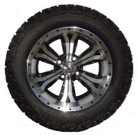 "Brand New Lifted Golf Cart Tires and 14"" Optimus Machined Wheels Set"