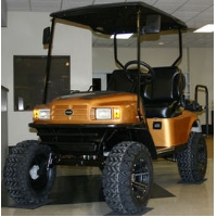 EZ-GO Custom Black and Gold Lifted Electric Golf Cart