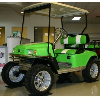 EZ-GO Custom Monster Lime Green and White Lifted Electric Golf Cart