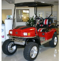 EZ-GO Custom Red, Black and Silver Lifted Electric Golf Cart