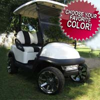 48V Pearl White Club Car Precedent Lifted Electric Golf Cart