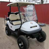 48V White Club Car Precedent Lifted Electric Golf Cart