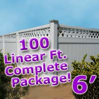 100 ft Complete Solid PVC Vinyl Privacy 6' Wide Fencing Package w/ Accent Top