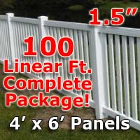 "100 ft Complete Solid PVC Vinyl Closed Top Picket Fencing Package - 4' x 6' Fence Panels w/ 1.5"" Spacing"