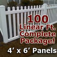 "100 ft Complete Solid PVC Vinyl Open Top Picket Fencing Package - 4' x 6' Fence Panels w/ 3"" Spacing"