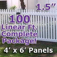 "100 ft Complete Solid PVC Vinyl Open Top Straight Picket Fencing Package - 4' x 6' Fence Panels w/ 1.5"" Spacing"