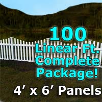 "100 ft Complete Solid PVC Vinyl Open Top Scallop Picket Fencing Package - 4' x 6' Fence Panels w/ 3"" Spacing"