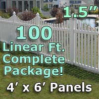 "100 ft Complete Solid PVC Vinyl Open Top Scallop Picket Fencing Package - 4' x 6' Fence Panels w/ 1.5"" Spacing"