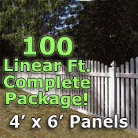 "100 ft Complete Solid PVC Vinyl Open Top Arched Picket Fencing Package - 4' x 6' Fence Panels w/ 3"" Spacing"