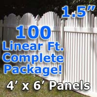 "100 ft Complete Solid PVC Vinyl Open Top Arch Picket Fencing Package - 4' x 6' Fence Panels w/ 1.5"" Spacing"