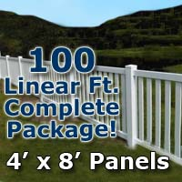 "100 ft Complete Solid PVC Vinyl Closed Top Picket Fencing Package - 4' x 8' Panels w/ 3"" Spacing"