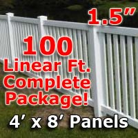 "100 ft Complete Solid PVC Vinyl Closed Top Picket Fencing Package - 4' x 8' Fence Panels w/ 1.5"" Spacing"