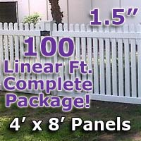 "100 ft Complete Solid PVC Vinyl Open Top Straight Picket Fencing Package - 4' x 8' Fence Panels w/ 1.5"" Spacing"
