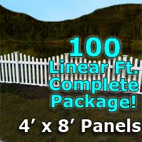 "100 ft Complete Solid PVC Vinyl Open Top Scallop Picket Fencing Package - 4' x 8' Fence Panels w/ 3"" Spacing"