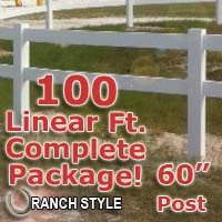 100 ft Complete Solid 2 Rail Ranch PVC Vinyl Fence Fencing Package - Two Rail Fence