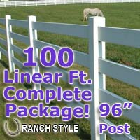 100 ft Complete Solid 4 Rail Ranch PVC Vinyl Fencing Package