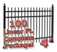 100 ft Complete Spear Top Residential Aluminum 4' High Fencing Package