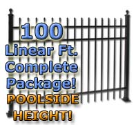 "100 ft Complete Speer Top Residential Aluminum 54"" Pool Fencing Package"