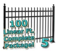 100 ft Complete Spear Top Residential Aluminum 5' High Fencing Package