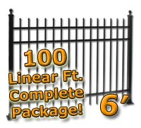 100 ft Complete Spear Top Residential Aluminum 6' High Fencing Package
