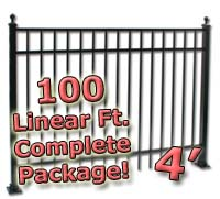 100 ft Complete Elegant Residential Aluminum 4' High Fencing Package