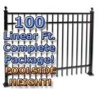 "100 ft Complete Elegant Residential Aluminum 54"" Pool Fencing Package"