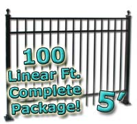 100 ft Complete Elegant Residential Aluminum 5' High Fencing Package