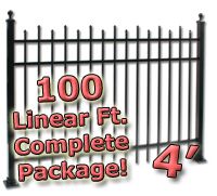 100 ft Complete Staggered Pickets Residential Aluminum 4' High Fencing Package