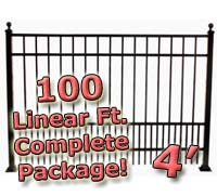 100 ft Complete Puppy Panel Residential Aluminum 4' High Fencing Package