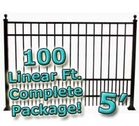 100 ft Complete Puppy Panel Residential Aluminum 5' High Fencing Package