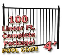 100 ft Complete Pool Code Residential Aluminum 4' High Fencing Package