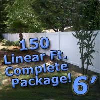 150 ft Complete Solid PVC Vinyl Privacy 6' Wide Fencing Package