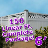 150 ft Complete Solid PVC Vinyl Privacy 6' Wide Fencing Package w/ Accent Top