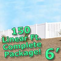 150 ft Complete Solid PVC Vinyl Semi-Privacy 6' Wide Fencing Package