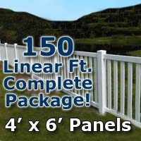 "150 ft Complete Solid PVC Vinyl Closed Top Picket Fencing Package - 4' x 6' Panels w/ 3"" Spacing"