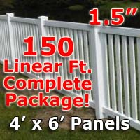 "150 ft Complete Solid PVC Vinyl Closed Top Picket Fencing Package - 4' x 6' Fence Panels w/ 1.5"" Spacing"